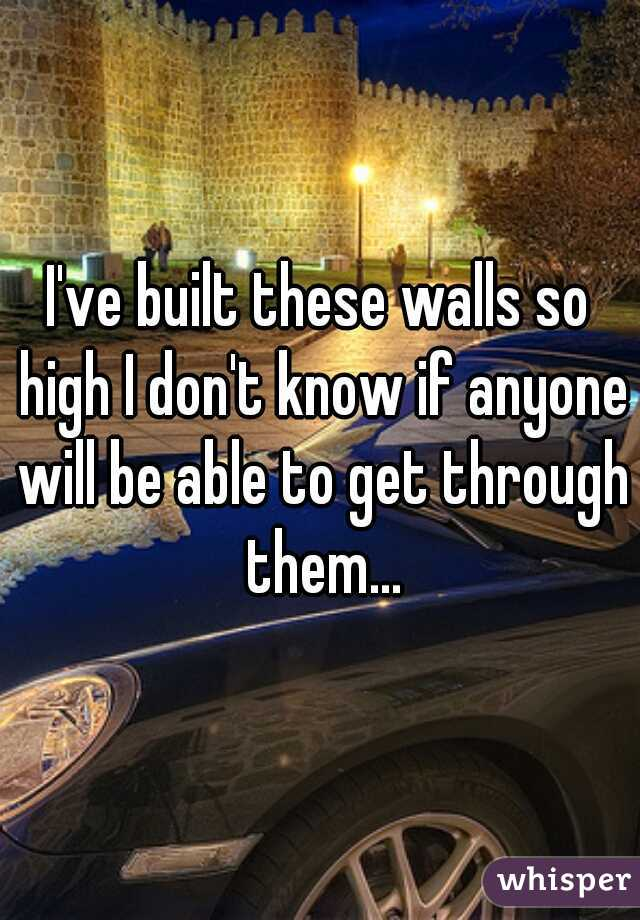 I've built these walls so high I don't know if anyone will be able to get through them...