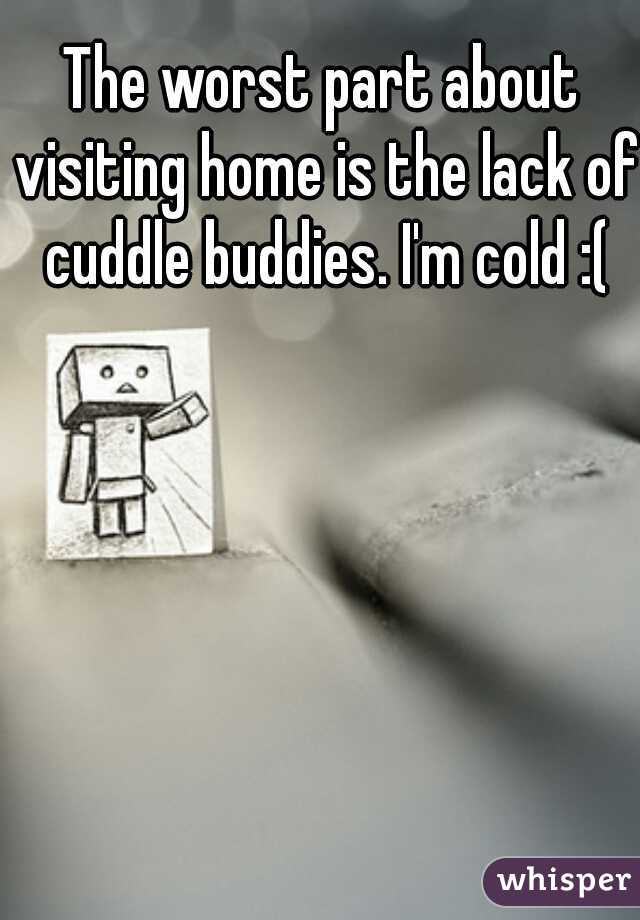 The worst part about visiting home is the lack of cuddle buddies. I'm cold :(