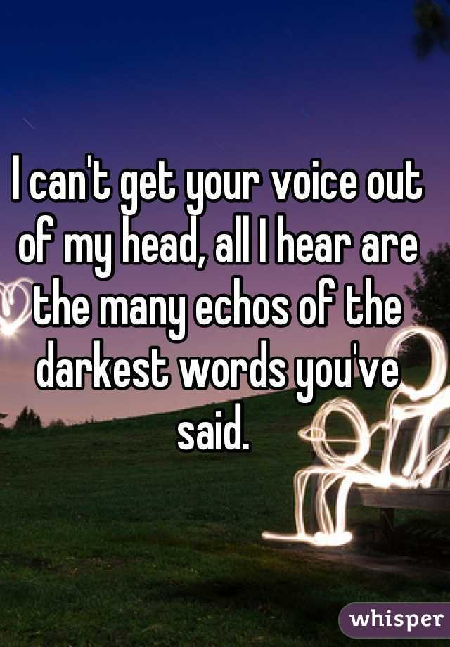 I can't get your voice out of my head, all I hear are the many echos of the darkest words you've said.