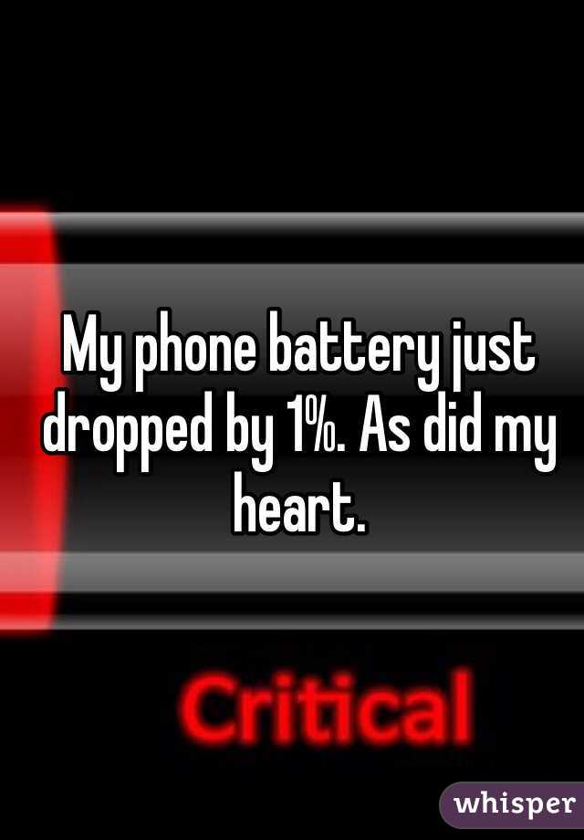 My phone battery just dropped by 1%. As did my heart.