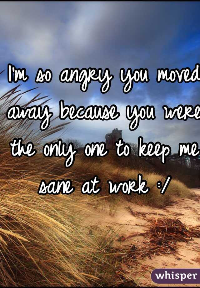 I'm so angry you moved away because you were the only one to keep me sane at work :/