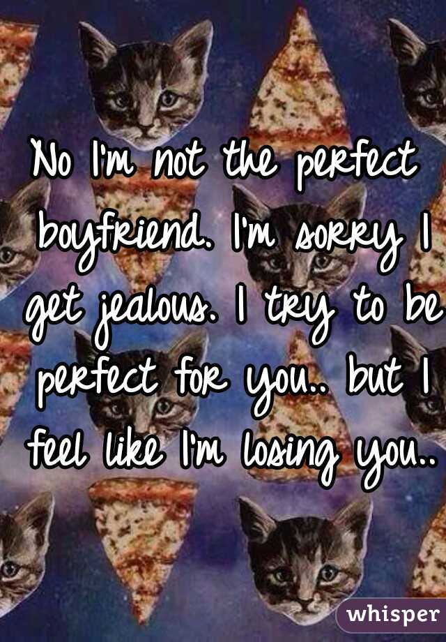 No I'm not the perfect boyfriend. I'm sorry I get jealous. I try to be perfect for you.. but I feel like I'm losing you..