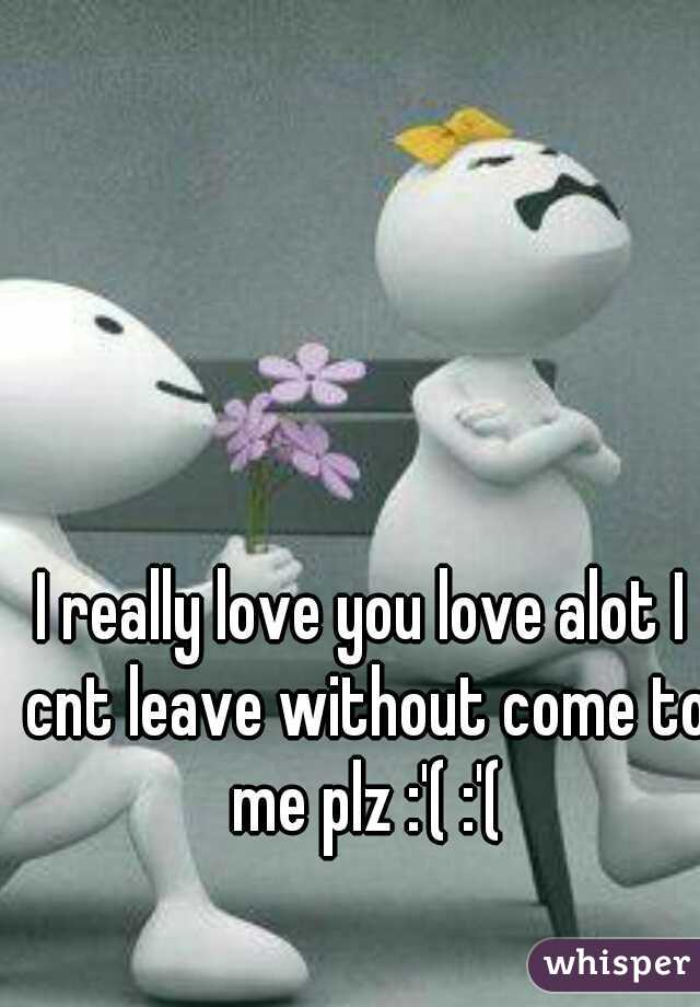 I really love you love alot I cnt leave without come to me plz :'( :'(