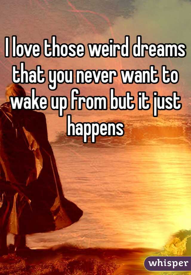 I love those weird dreams that you never want to wake up from but it just happens