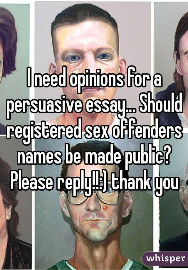 Persuasion paper on why sex offenders should be named