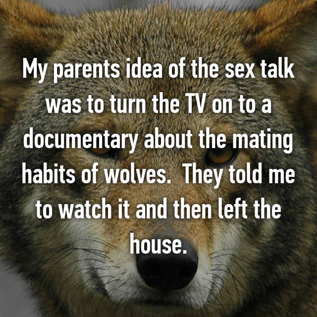 My parents idea of the sex talk was to turn the TV on to a documentary about the mating habits of wolves.  They told me to watch it and then left the house.