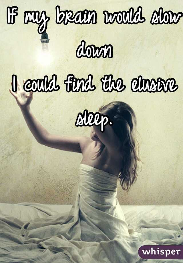 If my brain would slow down I could find the elusive sleep.