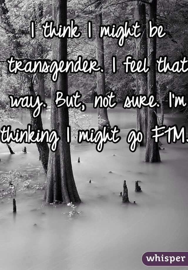 I think I might be transgender. I feel that way. But, not sure. I'm thinking I might go FTM.