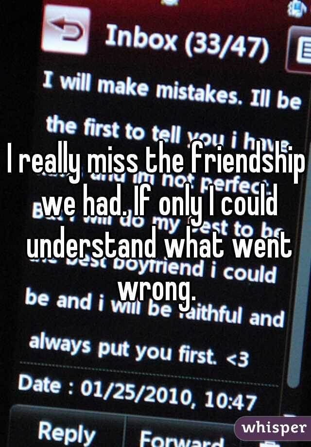 I really miss the friendship we had. If only I could understand what went wrong.