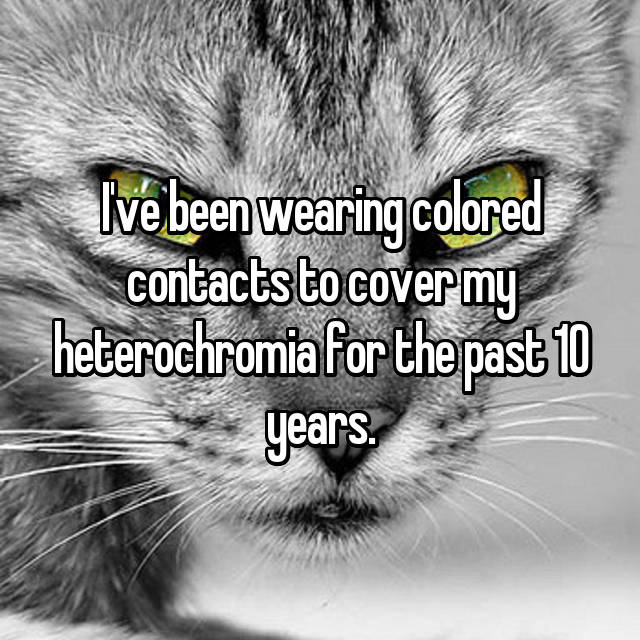 I've been wearing colored contacts to cover my heterochromia for the past 10 years.