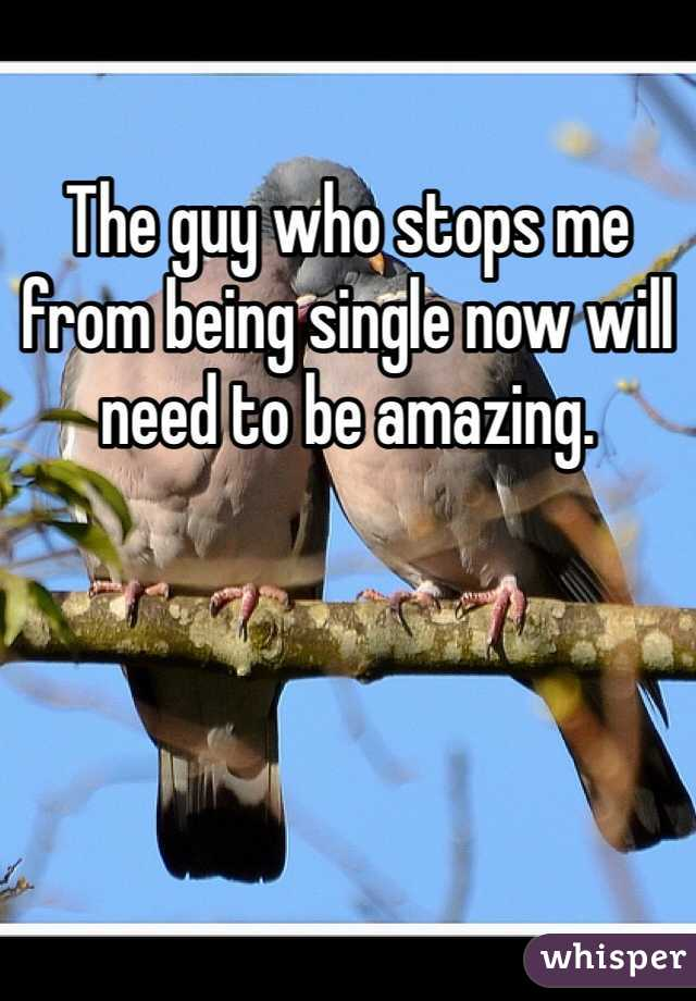 The guy who stops me from being single now will need to be amazing.
