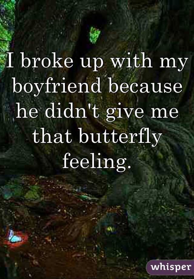 I broke up with my boyfriend because he didn't give me that butterfly feeling.