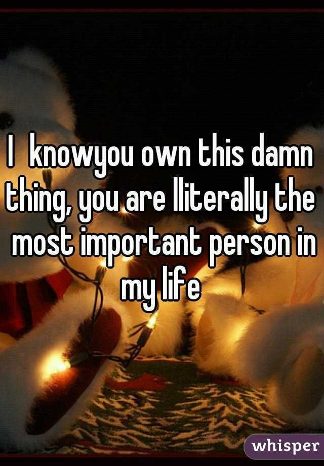 Iknowyou own this damn thing, you are lliterally the  most important person in my life