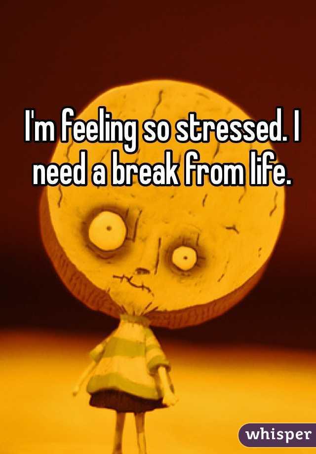 I'm feeling so stressed. I need a break from life.
