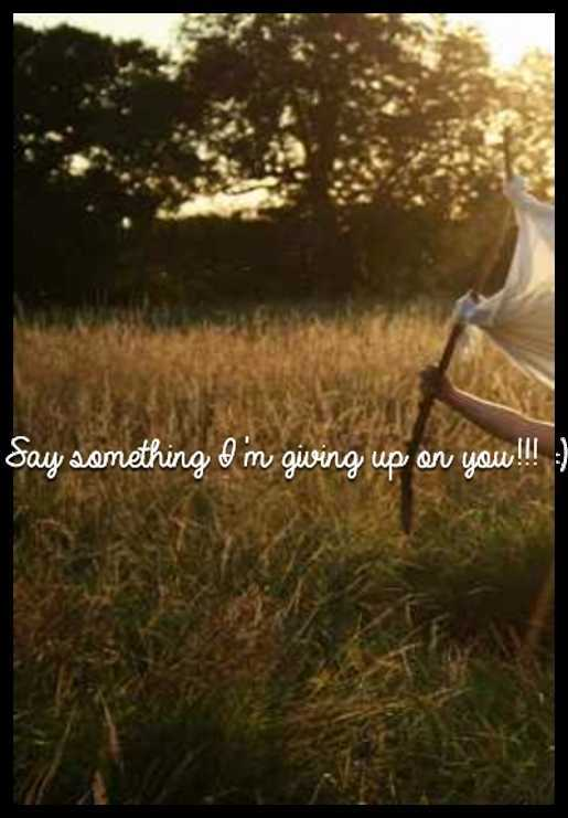 Say something I'm giving up on you!!! :)