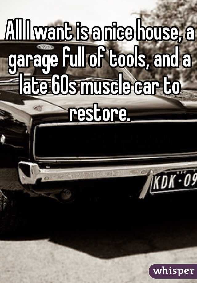 All I want is a nice house, a garage full of tools, and a late 60s muscle car to restore.
