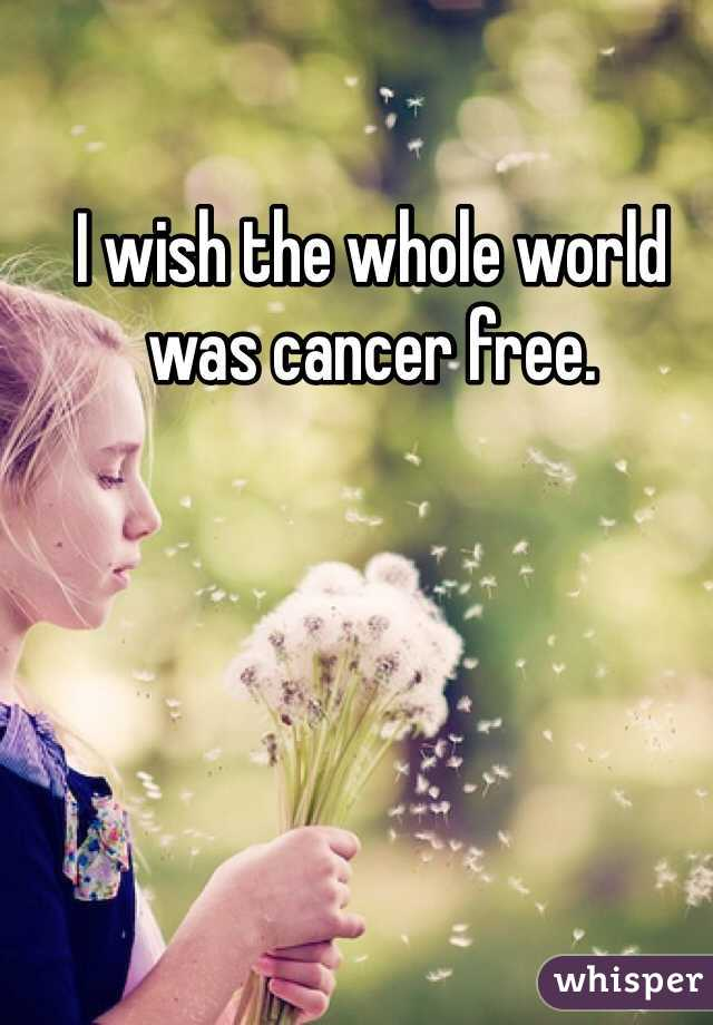 I wish the whole world was cancer free.