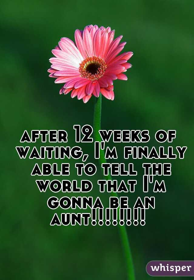 after 12 weeks of waiting, I'm finally able to tell the world that I'm gonna be an aunt!!!!!!!!