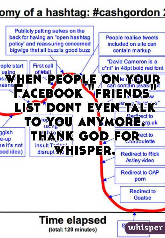 """when people on your Facebook """"friends"""" list dont even talk to you anymore. thank god for whisper."""