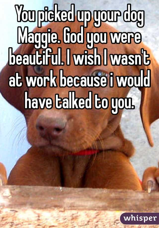 You picked up your dog Maggie. God you were beautiful. I wish I wasn't at work because i would have talked to you.