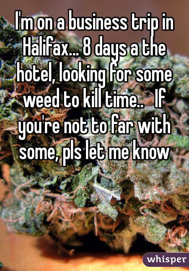 I'm on a business trip in Halifax... 8 days a the hotel, looking for some weed to kill time..   If you're not to far with some, pls let me know