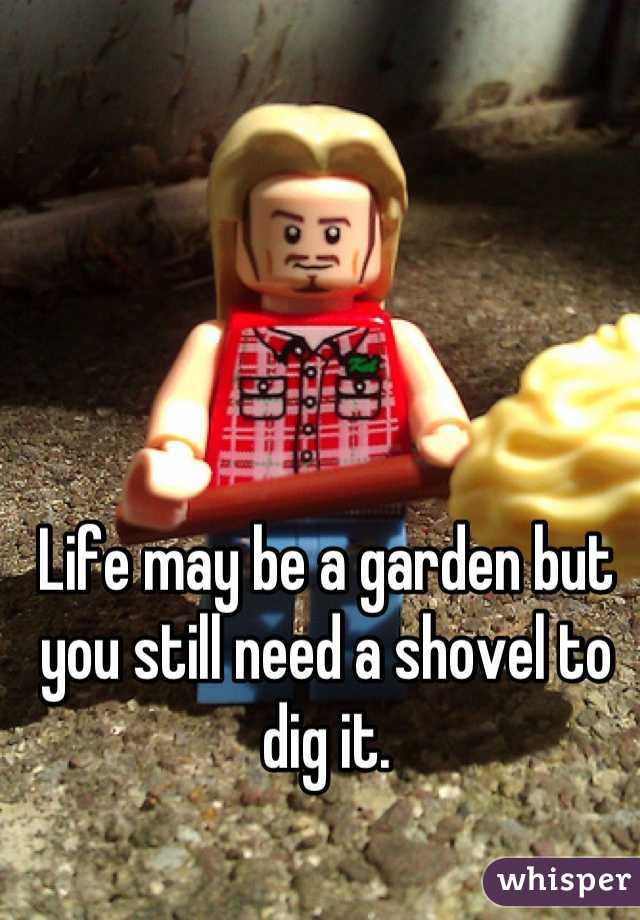 Life may be a garden but you still need a shovel to dig it.