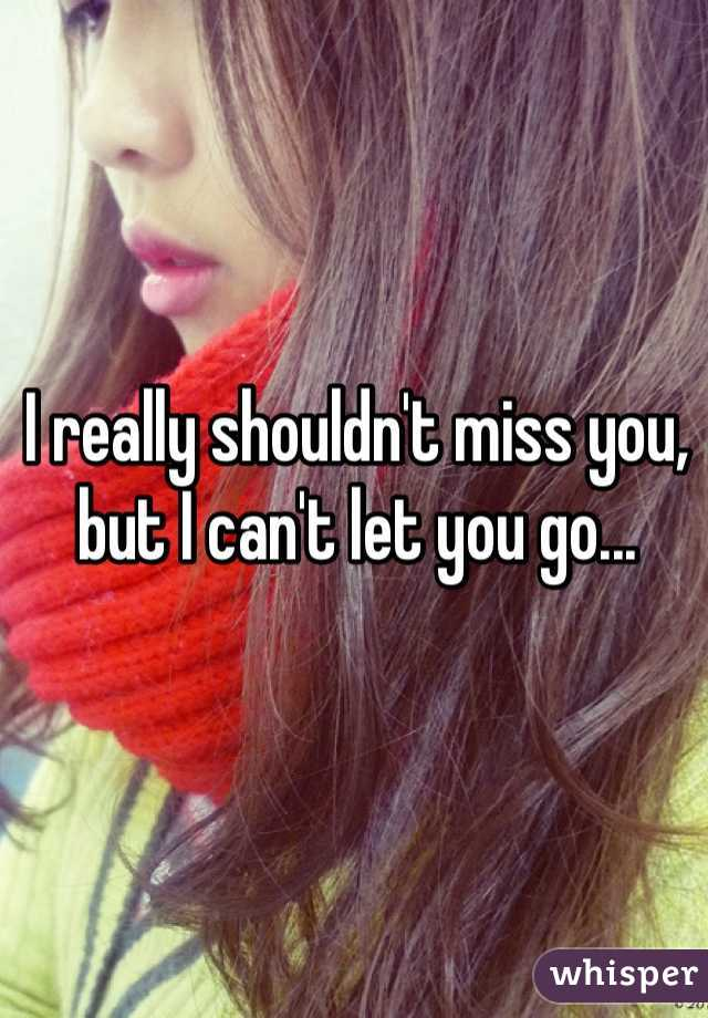 I really shouldn't miss you, but I can't let you go...