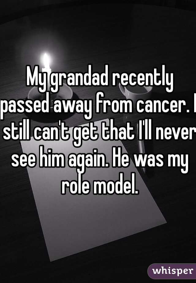 My grandad recently passed away from cancer. I still can't get that I'll never see him again. He was my role model.