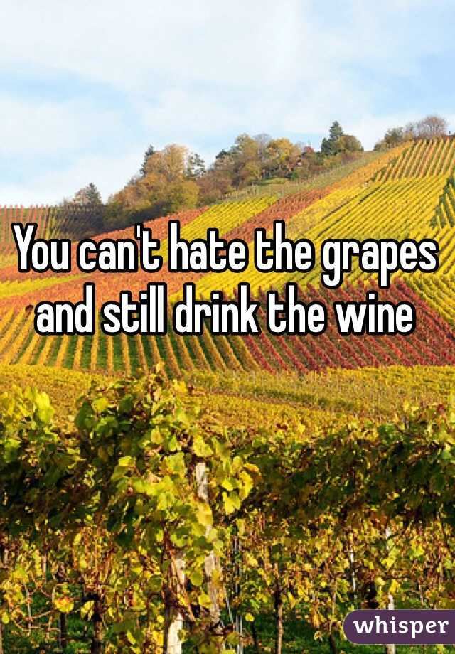 You can't hate the grapes and still drink the wine