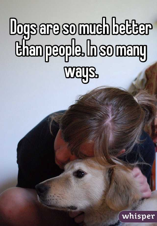 Dogs are so much better than people. In so many ways.