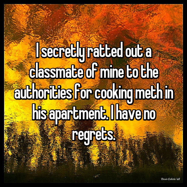 I secretly ratted out a classmate of mine to the authorities for cooking meth in his apartment. I have no regrets.