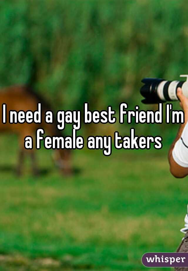 I need a gay best friend I'm a female any takers