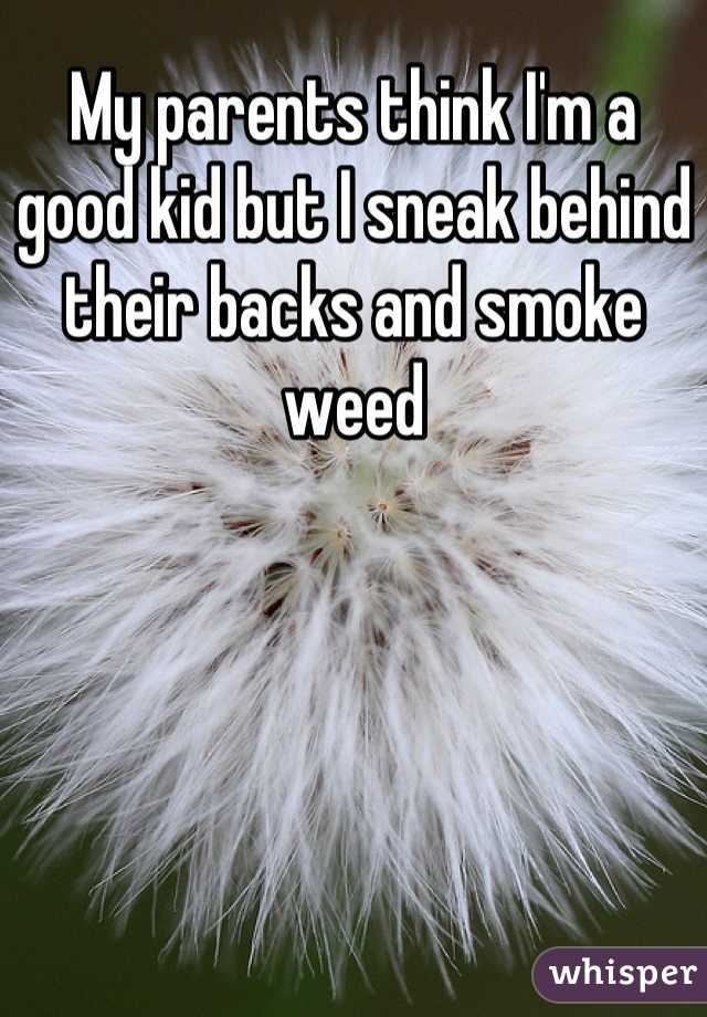 My parents think I'm a good kid but I sneak behind their backs and smoke weed
