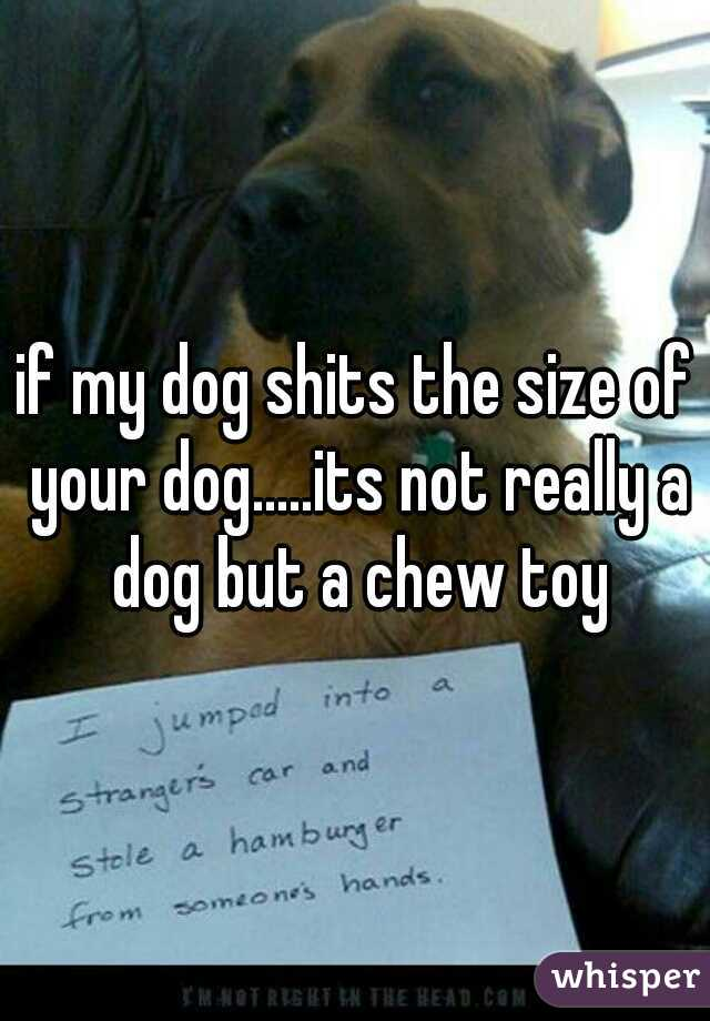 if my dog shits the size of your dog.....its not really a dog but a chew toy