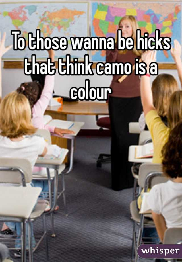 To those wanna be hicks that think camo is a colour