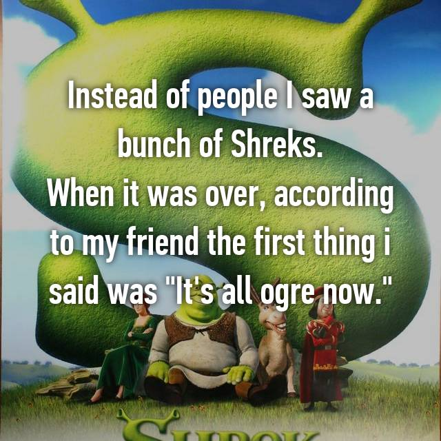 "Instead of people I saw a bunch of Shreks. When it was over, according to my friend the first thing i said was ""It's all ogre now."""