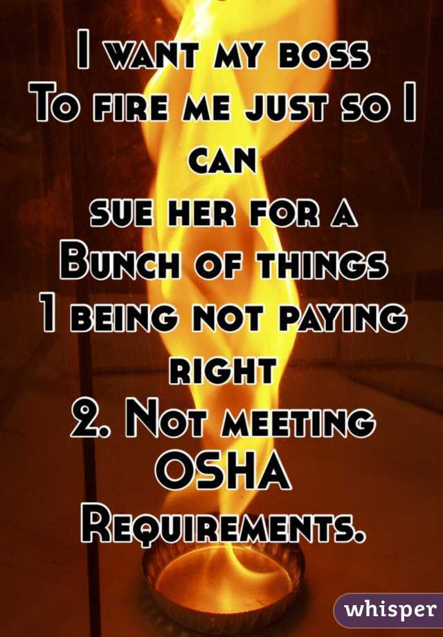 I want my boss To fire me just so I can sue her for a  Bunch of things  1 being not paying right  2. Not meeting OSHA  Requirements.