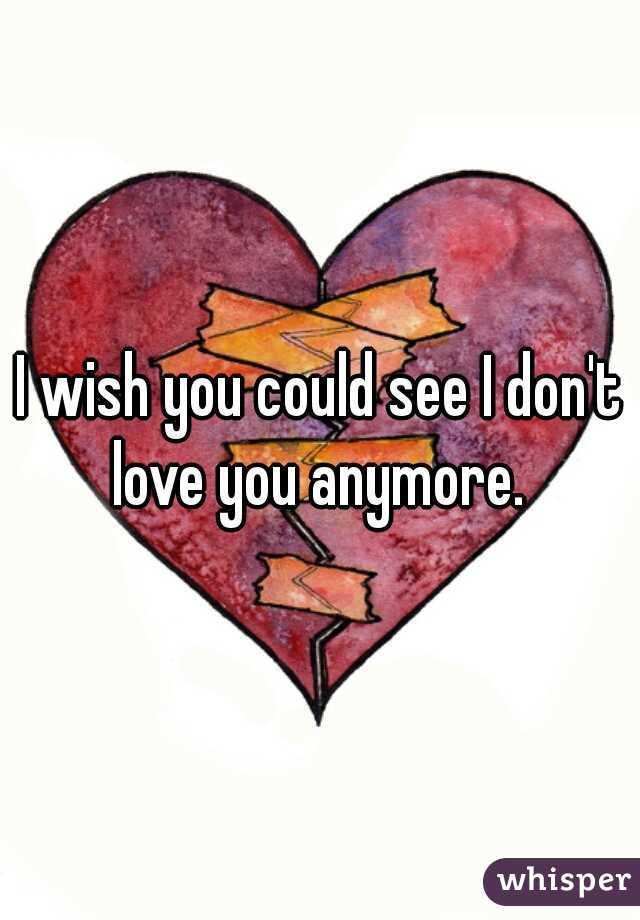 I wish you could see I don't love you anymore.
