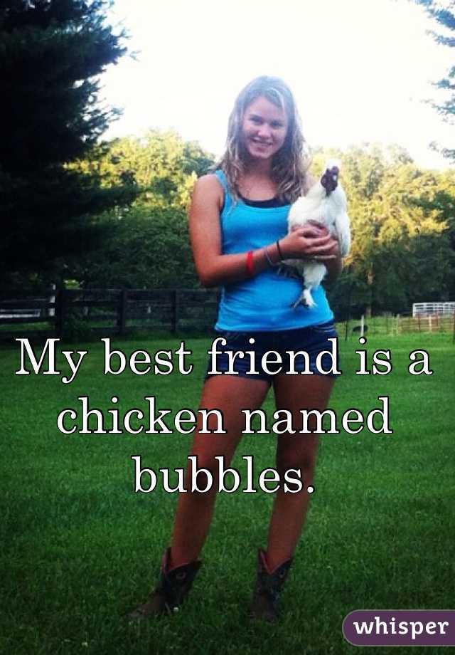My best friend is a chicken named bubbles.