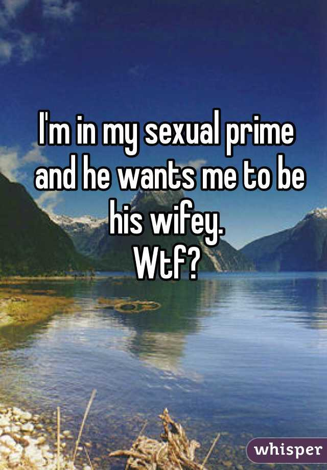 I'm in my sexual prime  and he wants me to be  his wifey.  Wtf?