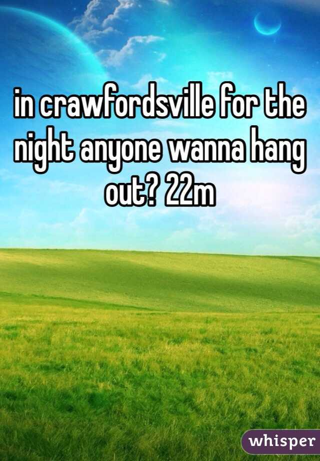 in crawfordsville for the night anyone wanna hang out? 22m