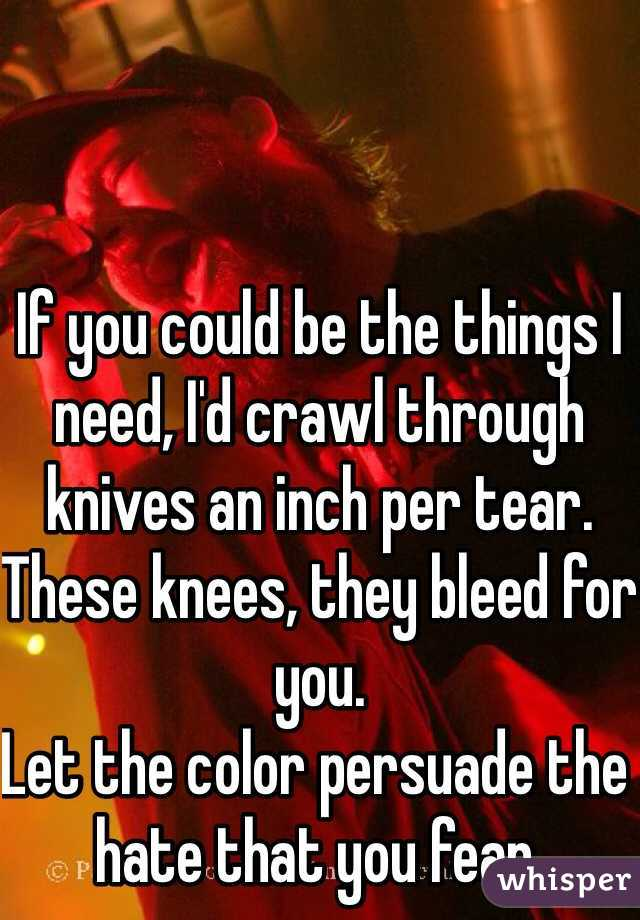 If you could be the things I need, I'd crawl through knives an inch per tear. These knees, they bleed for you. Let the color persuade the hate that you fear.