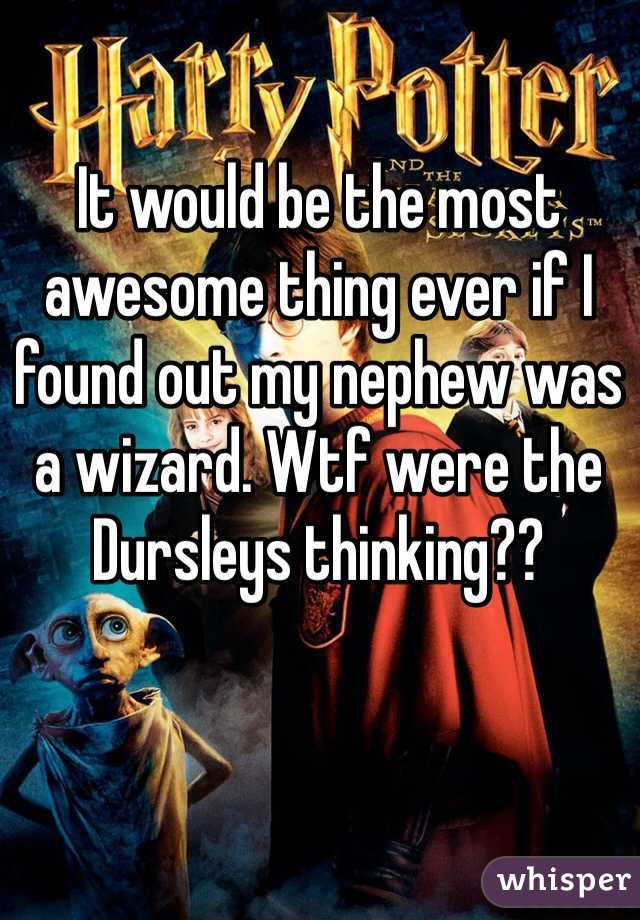 It would be the most awesome thing ever if I found out my nephew was a wizard. Wtf were the Dursleys thinking??