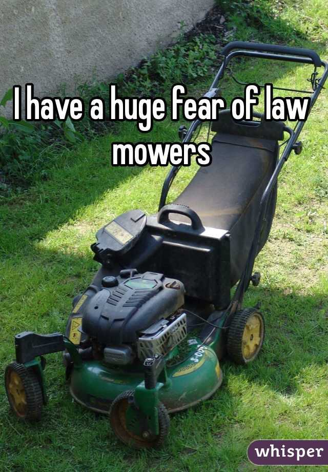I have a huge fear of law mowers