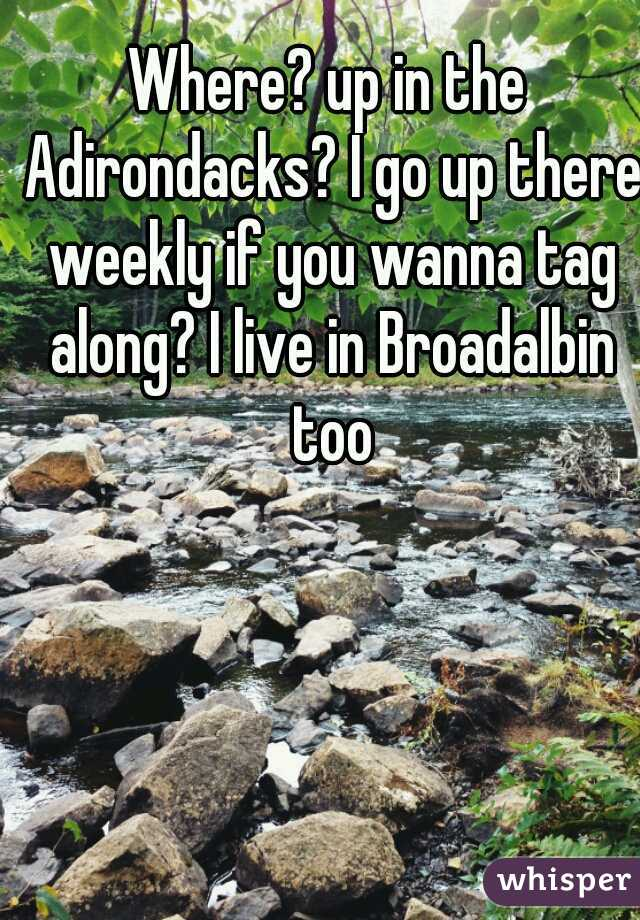 Where? up in the Adirondacks? I go up there weekly if you wanna tag along? I live in Broadalbin too