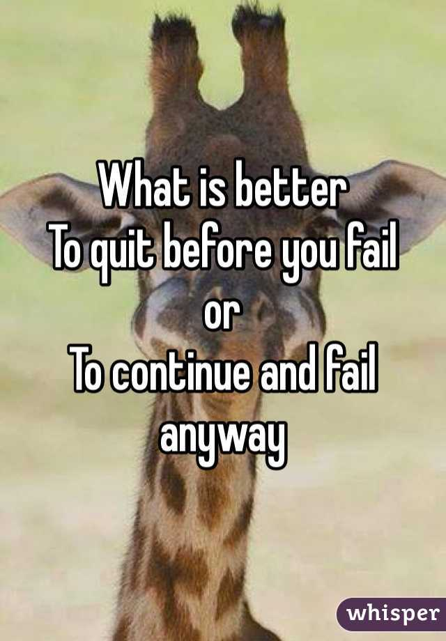 What is better  To quit before you fail  or To continue and fail anyway