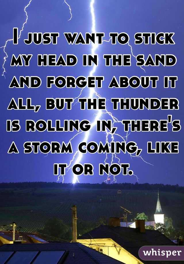 I just want to stick my head in the sand and forget about it all, but the thunder is rolling in, there's a storm coming, like it or not.