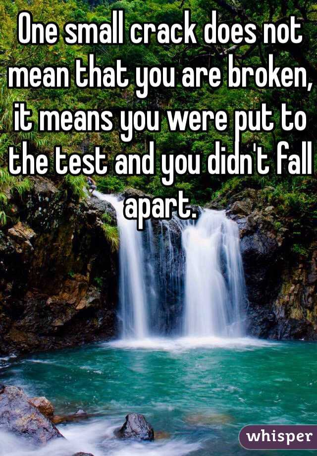 One small crack does not mean that you are broken, it means you were put to the test and you didn't fall apart.