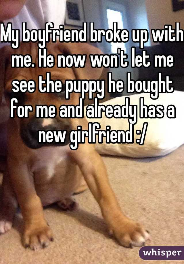My boyfriend broke up with me. He now won't let me see the puppy he bought for me and already has a new girlfriend :/