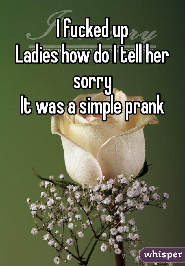 I fucked up Ladies how do I tell her sorry It was a simple prank